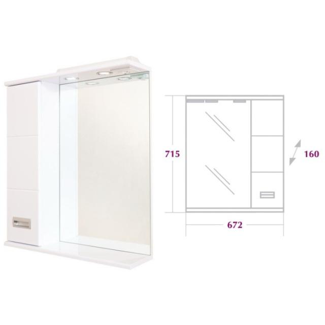 Шкаф-зеркало  БАЛТИКА 67 см Правый