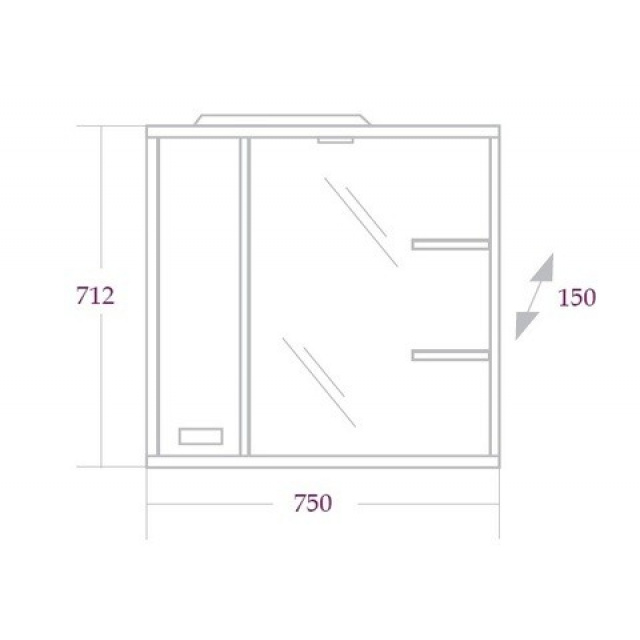 Шкаф-зеркало ГАММА 75 см Левый