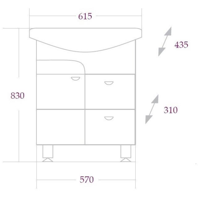 Тумба СТИЛЬ 60 см (2 ящика)