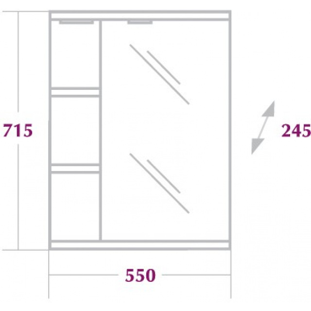 Шкаф-зеркало КАРИНА 55 см Правый